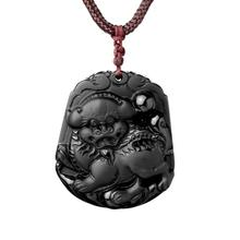 Drop Shipping Natural Black Obsidian Pendant Necklace Everything Goes Well Lucky Lion Pendant Gift For Mother's Day Jades Jewelr(China)