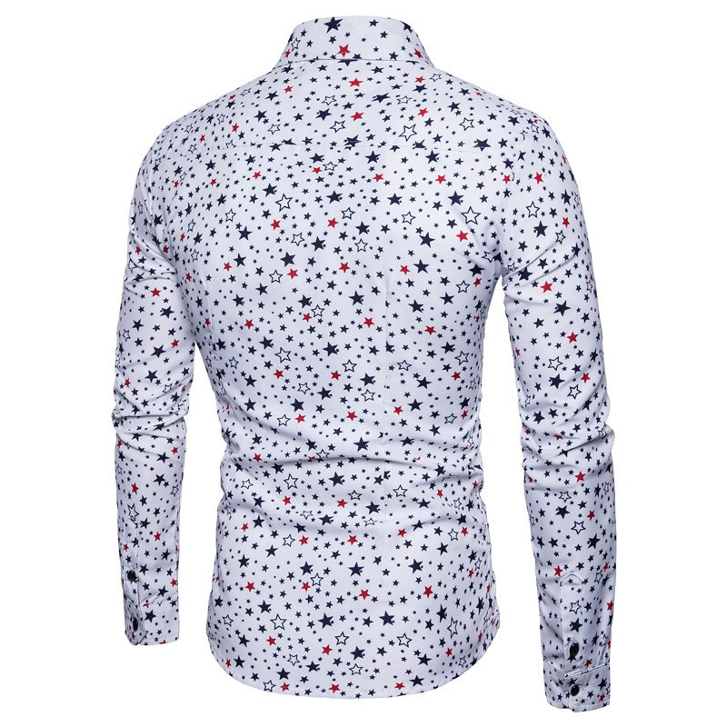 Homme Imprimé Léopard Floral à manches longues revers Slim Fit Chemises Casual Tops 2XL-6XL