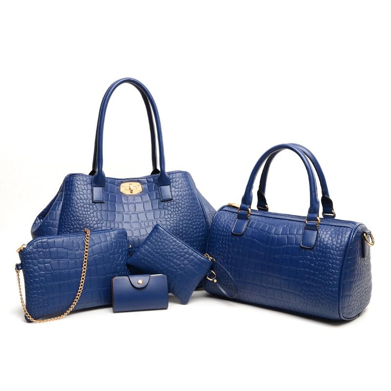 5 Pcs/Set Lock Women Bags Fashion Chains Girls Handbag Set 3 Color Plaid Composite Bag Women Bags Crocodile Women Messenger Bags<br>