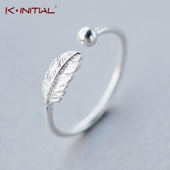 Kinitial 925 Sterling Silver Simple Leaf Bird Feather Open Adjust Ring Christmas Minimalist Jewelry for Women Girls Charm Gift