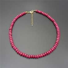 Vintage Classic Natural Stone Jewelry Elegant Wheel form 5*8mm Rubies Beaded Chain Choker Necklace 45cm