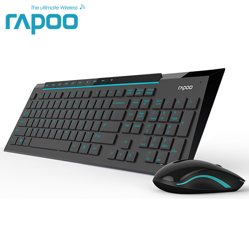 Rapoo 8200P Multimedia Wireless Keyboard Mouse Combos with Fashionable Ultra Thin Whaterproof Silent Mice for Computer Gaming TV<br>