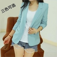 Top Fasion New Full Blazers 2015 Spring And Autumn Women's All-match Blazer Candy Color Long-sleeve Small Suit Jacket