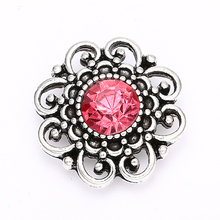 Decorative Metal Replaceable Crystal Flower Snap Buttons fit 18mm/20mm DIY Snap Bracelet Buttons Jewelry for Women
