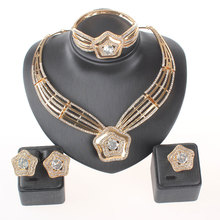 African beads Fashion Women Clear Crystal Multilayer Bohemia Statement Necklace Bangle Earring Ring Fine Party Jewelry Set(China)