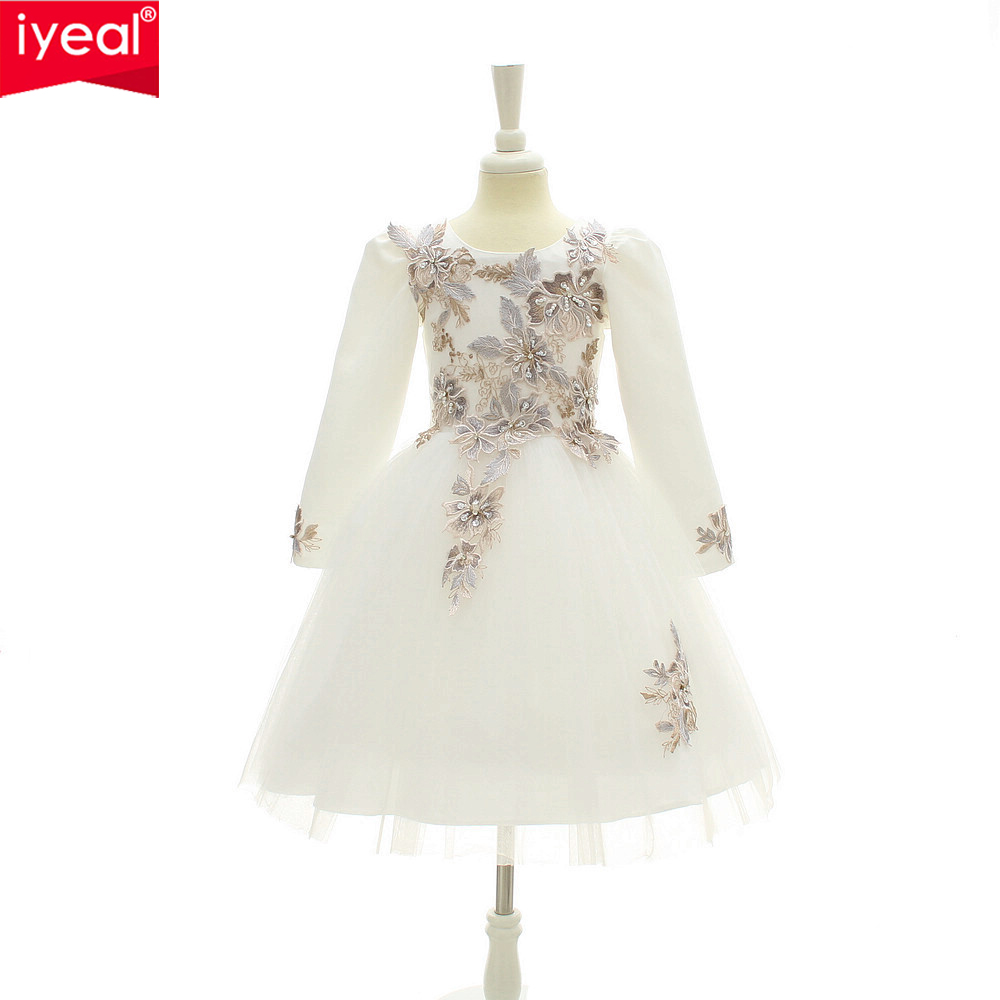 IYEAL High-end 2017 Long Sleeved Patterned Flower Girls 4-12 Years Kids Princess Dresses Children Wedding Birthday Party Dress<br>