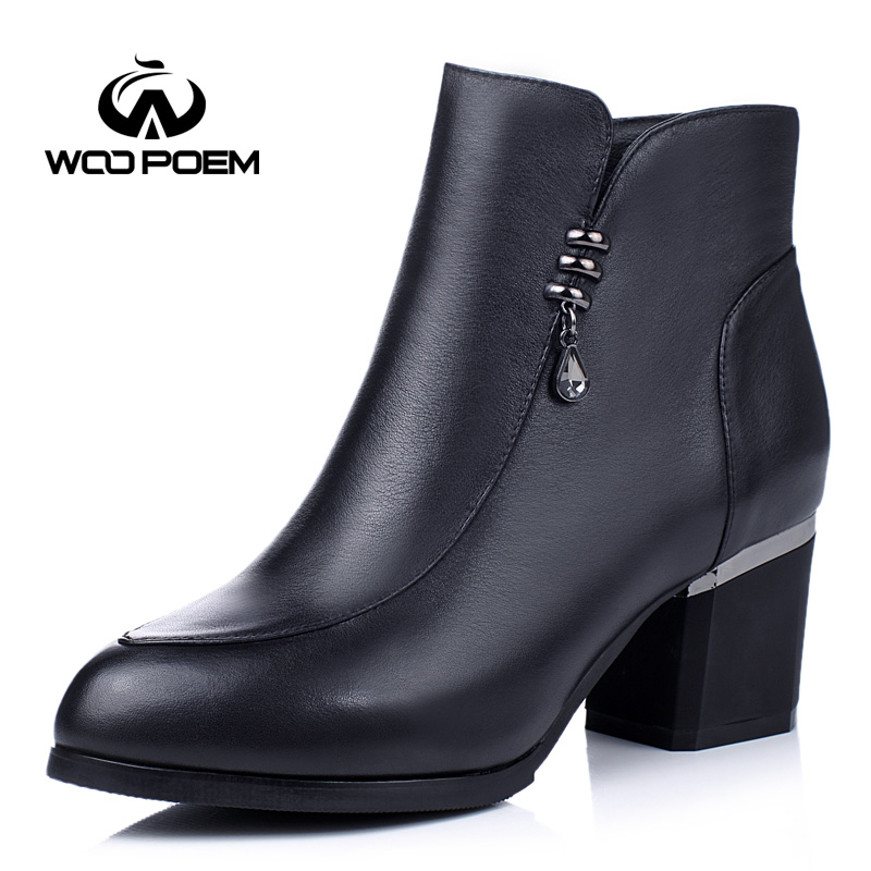 WooPoem Autumn Winter Shoes Women Breathable Cow Leather Boots High Heel Ankle Boots Fashion Crystal Zip Women Boots B16R822<br><br>Aliexpress