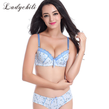 Women Intimates Hurt Print Bra And Panties Set Double Push Up Padded Lace Japan Cute Matching Bra Brief Set Of Underwear N237(China)
