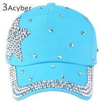 New fashion children cap most popular rhinestone star shaped pink blue black color children baseball cap B2# 41