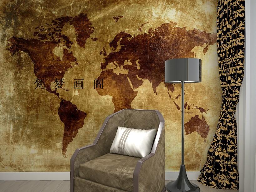Free Shipping retro map wallpaper TV background sofa wall mural wallpaper<br><br>Aliexpress