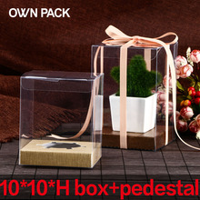 Direct Selling clear box 10pcs/lot 10*10*H and pedestal/gifts box  wedding gifts for guests/ plastic container/ macarons package