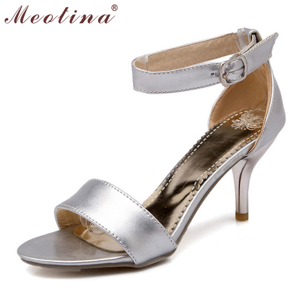 Meotina Sexy Women Sandals Open Toe Ankle Strap Party Evening Thin High Heel Sandals Ladies Gold Silver Shoes Large Size 9 10 43<br><br>Aliexpress