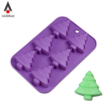 Wulekue 1PCS Silicone 6-Christmas Tree Cake Mold Cookie Mould Flexible Soap Ice Chocolate XMAS Cupcake Decorating Baking Tools