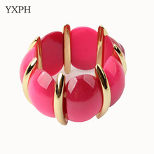 Bohemia Multi Color Red Green Beige Elastic Bracelets Fashion Fine Jewelry Accessories Alloy Plastic Resin Charm Link Chain