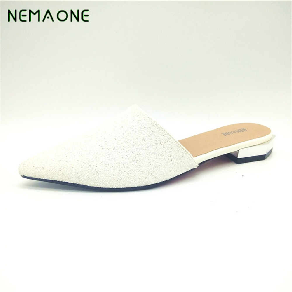 2017 New sexy low heels sandals women poined toe women slippers casual shoes woman summer style women sandals big size 34-43<br>
