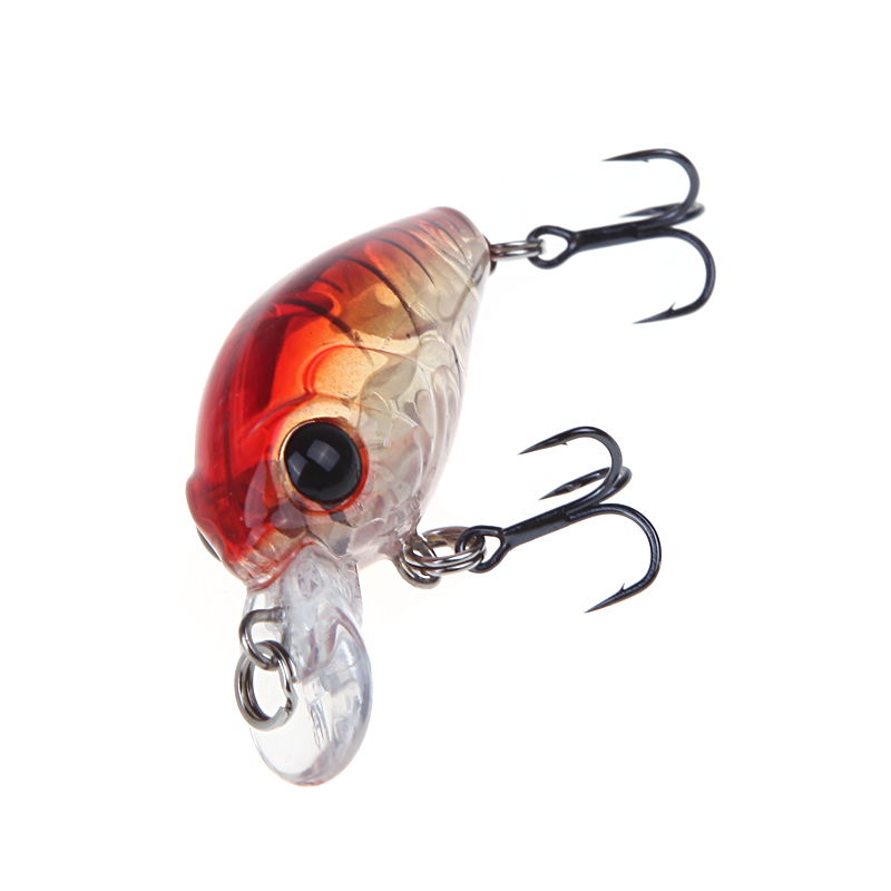 Trulinoya Fishing Lure DW24 35mm 3.5g 1.2m Mini Crank Fishing Lures Hard Bait Lure with Hooks Red/Green/Blue/Black 8
