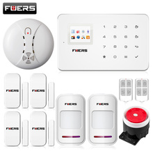Fuers ios android app GSM home alarm system touch screen TFT color display easy operation+smoke detector security alarm system