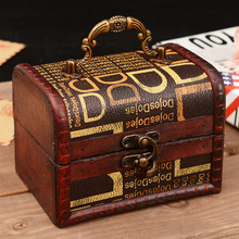 Europe Vintage Storage Box Jewelry Boxes Metal Lock Jewelry Treasure Case Wood Box Storage Boxes Vintage Jewelry Organizer