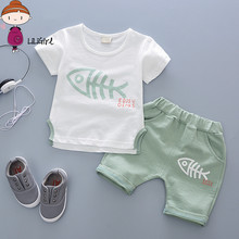 Hot Limit Discounts Sport Suit Boy 2017 Tracksuit For Girls Summer Baby Clothes Decoration T-Shirt + Shorts Free Delivery 2Y