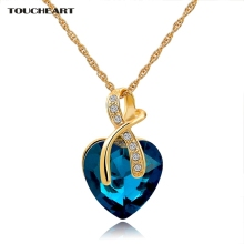 Austrian Crystal Heart Pendants Necklaces For Women Classic Gold color Statement Necklace Ethnic Jewelry Green Maxi Bijouterie(China)