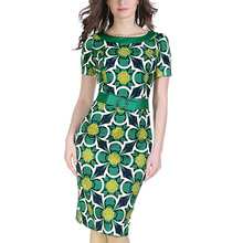Plus Size Robe Womens Summer Elegant Business Party Evening Pencil Dress Vintage Print Bodycon Pattern With Belt Vestidos 052(China)