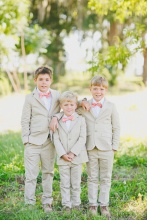New 2016 Summer Boys Khaki Wedding Cloths With (Coat + Shirt + Trousers) Handsome Cute Kids Tuxedo Suits Cheap Formal Clothing