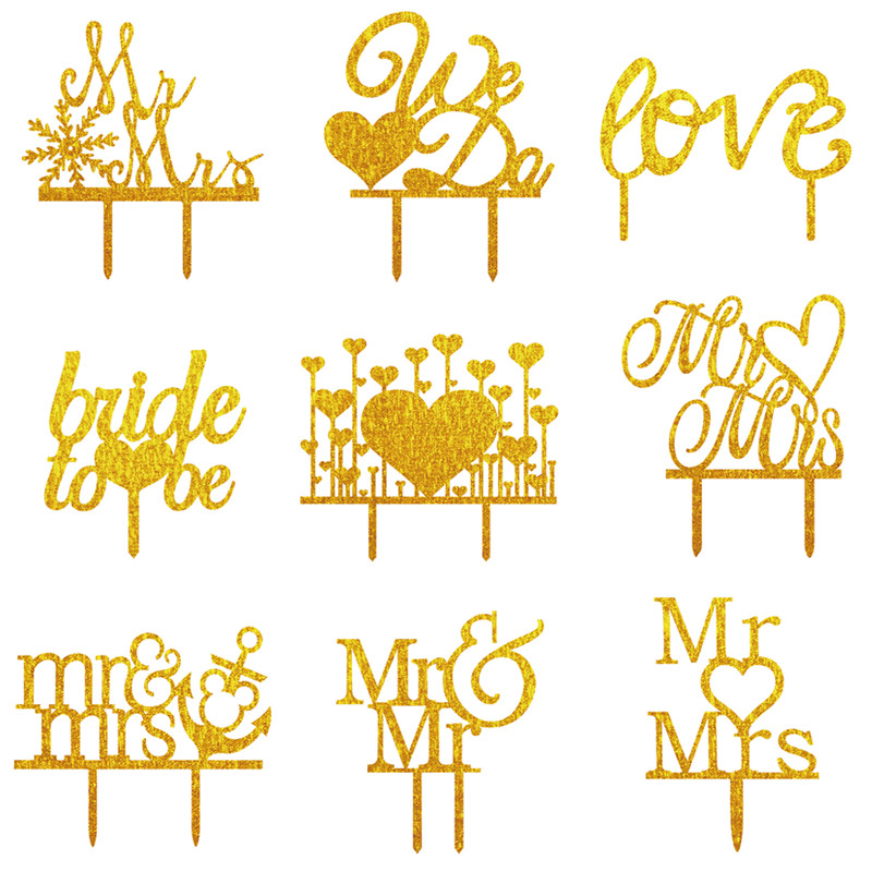 We Do Love Heart Bride To Be Wedding Acrylic Cake Flags Mr & Mrs Mr & Mr Mrs & Mrs Cake Topper Wedding Party Cake Decor