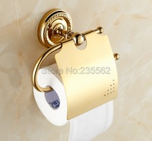 Gold Color Brass Modern Bathroom Accessories Toilet Roll Tissue Paper Holders Wall Mounted lba604