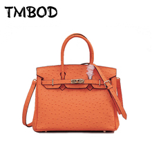 New 2017 2 Size Designer Classic Ostrich Tote with Lock Women Split Leather Handbags Ladies Bag Messenger Bags For Female an820