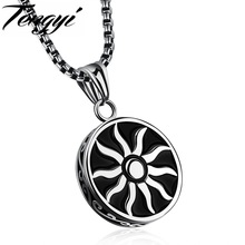 TENGYI Flame Design Pendant Necklace For Man Classical Stainless Steel Chain Sun Shape Pendant Men Jewelry Necklace Gifts TY1130