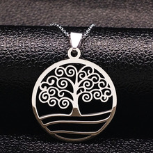 2017 Fashion Tree of Life Necklaces For Women Silver Color Stainless Steel Necklace Pendants Jewelry Gifts Bijoux N611218B(China)