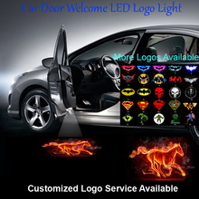 2x Flaming Horse Logo Car Door Welcome Step Courtesy Laser Projector Ghost Shadow Puddle LED Wired Light #C0513(China)