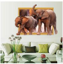 3D African Elephant Nursery Wall Stickers Removable Children's Room Restaurant Wall Decals Sticker Waterproof 2016 New(China)