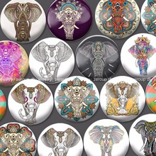 ZEROUP 18-25mm round glass cabochon Elephant pictures mixed pattern fit cameo base setting for flat back jewelry 20pcs/lot