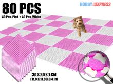 New 80 pcs Plastic Flooring Mat Tile 30 x 30 cm Indoor / Outdoor Circle Pattern Home Decor KK1129 Pink and White Combination