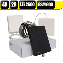 2G 4G GSM 900 FDD LTE 2600 Band 7 Dual Band Cell Phone Signal Booster Amplifier 65dB Gain AGC Cellular Repeater 4G Antenna Set