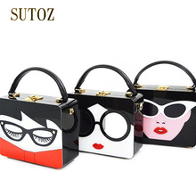 Fashion Sexy Lady Famous Brand Women Handbags Clutch Glasses Girls Shoulder Bags Messenger Luxury Pouch Purse Acrylic Box BA291