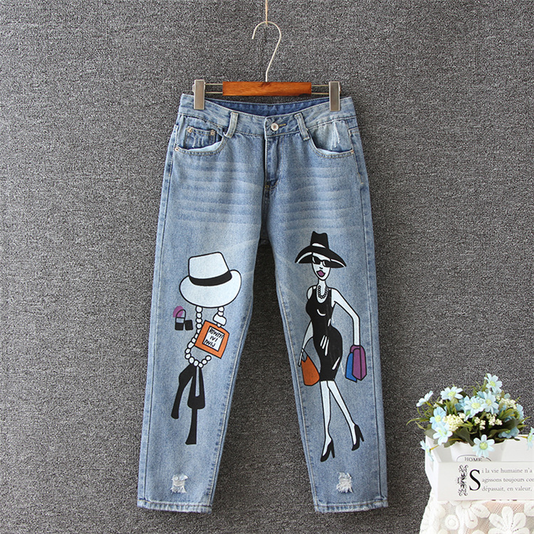 2017 Winter autumn fashion brand plus size jeans blue color casual brand denim pants woman pencil jean trousers XL-5XL big sizeОдежда и ак�е��уары<br><br><br>Aliexpress