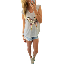 Summer Women t shirt Butterfly printing girl Sleeveless shirt Cotton Casual camiseta mujer v neck fashion women Sexy T-Shirt