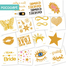 60x60cm 25 Different Small Gold Bride Temporary Tattoo Eyes Star lip hearts Gold Tattoo Designs Metallic Flash Tattoos