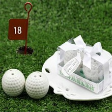 (200pcs=100boxes/Lot)FREE SHIPPING+Unique Design Golf Ball Salt and Pepper Shakers Wedding Ceramic Salt & Pepper Shaker Favors(China)