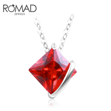 Simply Small Square 1 Carat Cubic Zirconia Solitaire Red Pendant Necklace Hot Sale Jewellery for Women and Girls Christmat Gifts(China)