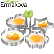 ERMAKOVA 4 Pcs/Set Stainless Steel DIY Fried Egg Pancake Mold Cooking Kitchen Tools Pancake Rings Cooking Egg Mold (Green Color)(China)