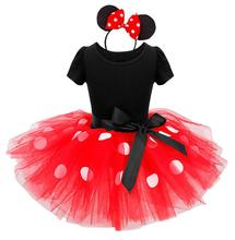 2017 Newest Kids Gift Minnie Dot Party Dress Fancy Costume Cosplay Girls Tutu Dress+Headband 9M-6Y Infant Baby Clothes Red