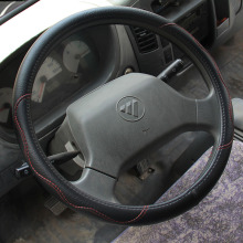 Black Leather Steering Wheel Covers for Car Bus Truck 36 38 40 42 45 47 50cm Diameter Auto Steering-wheel cover(China)