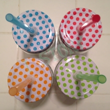 3 PCS Drinking glass colorful polka dots lids , Mason jar Hole Lids for Kids Parties birthday Baby Showers Drinking Accessories