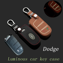 FOB leather car key fob bag Case Cover For Dodge Journey Durango Ram Charger Smart Key Protective holder keychain accessories