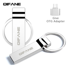 QIFANE metal U Disk 16G pen drive 4G 8G Outline ring Key chain USB Flash Drive 32GB 64G business gift memory stick Free shipping