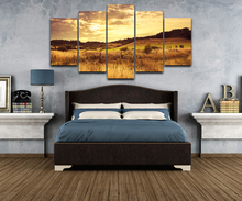 5 Pieces HD Print Painting Dusk Sunset Grassland Plains Poster For Modern Decorative Bedroom Living Room Home Wall Art Decor(China)
