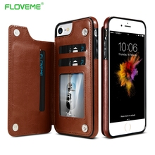 FLOVEME Case For iPhone 6 7 Case iPhone 6s 7 Plus Leather Card Wallet Coque For Samsung Galaxy S8 S7 Edge Brown Business